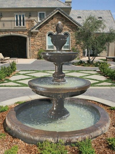 Mediterranean Outdoor Water Fountain With Old Euro Basin