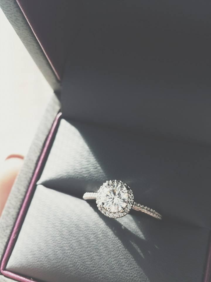 We can't keep our eyes off this Ritani halo engagement ring!