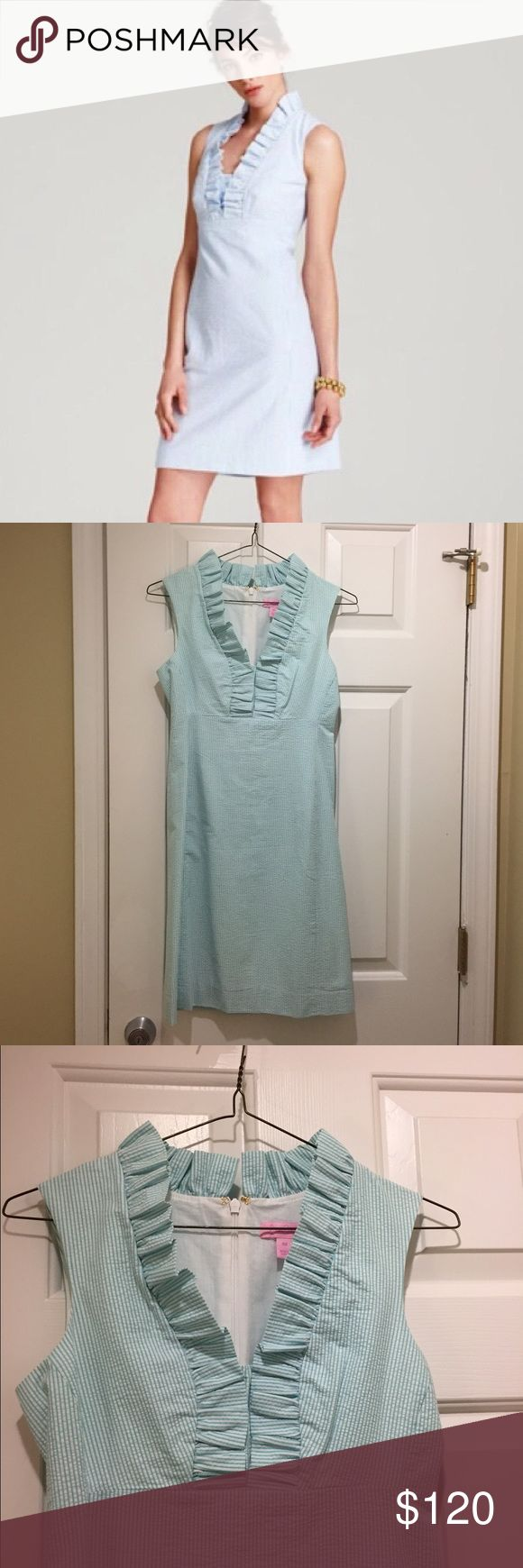 Lilly Pulitzer Adeline seersucker shift size 00 Aqua seersucker shift dress with ruffle detail. Adeline by Lilly Pulitzer. Size 00. Worn once on my honeymoon. Great for spring or summer weddings or at the beach! Lilly Pulitzer Dresses Mini