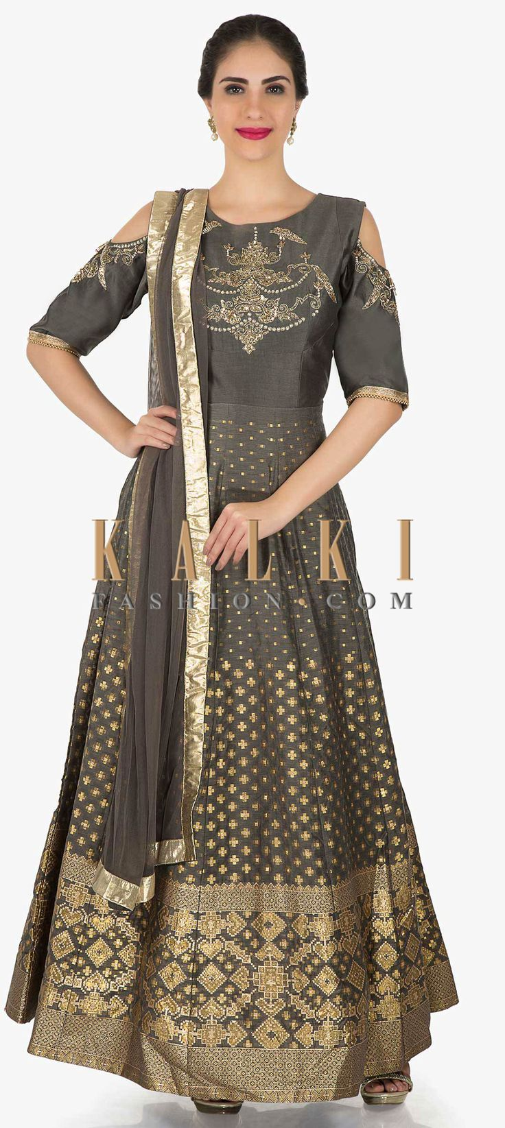 Buy Online from the link below. We ship worldwide (Free Shipping over US$100)  Click Anywhere to Tag Grey anarkali suit in silk with cold shoulder and embroidered bodice only on Kalki Grey anarkali suit featuring in silk with cold shoulder. Enhanced in weave along with zardosi and sequin embroidery at bodice. Matched with lycra churidar and net dupatta in lurex border. It comes with round neckline and half sleeve.