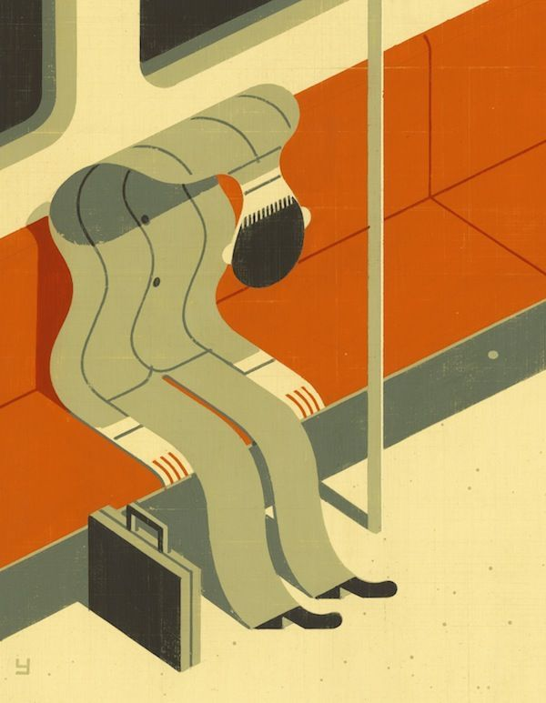 How does 'empty' after a rough day at work looks like? I think this illustration pretty much nails it.