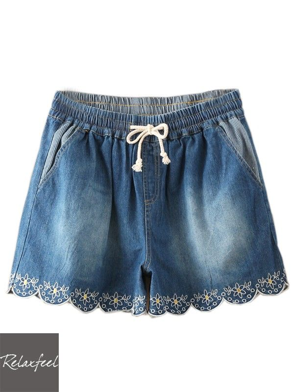 Relaxfeel Women's Loose Striped Flowers-Embroidered Shorts - New In