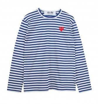 COMME DES GARÇONS SMALL LOGO STRIPED L/S T-SHIRT. White / Blue. £105.00