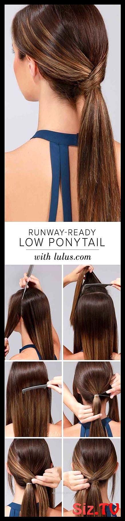 Schnelle und einfache Frisuren für glattes Haar Wie Runway Ready Low Ponytail Pop ...,  #einf...