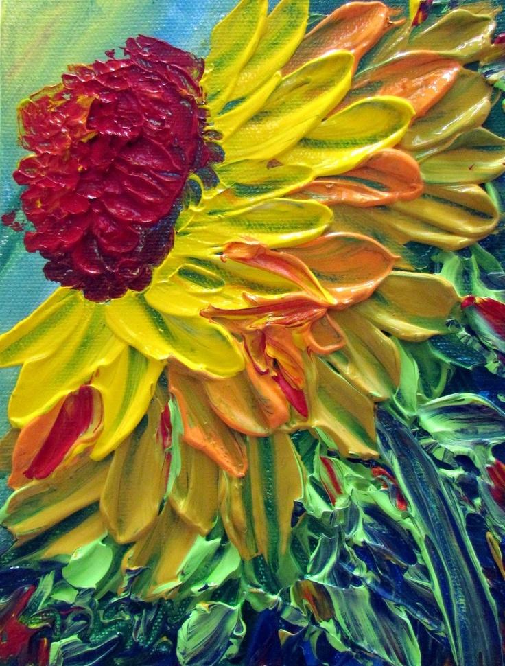 Original modern impressionist impasto textured oil for Modern flower paintings