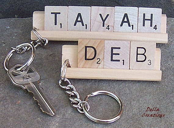 Personalized Scrabble Tile Keychain  3 to 5 by DellaCreations, $8.95