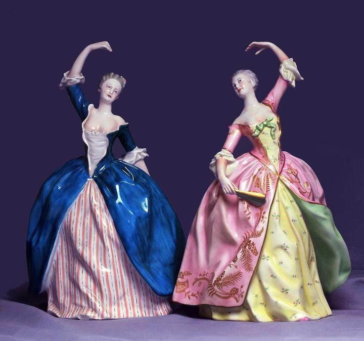 ~ Museum Pair Italian Lady Dancers Ginori Doccia Capodimonte Porcelain Figurines ~ ebay.com