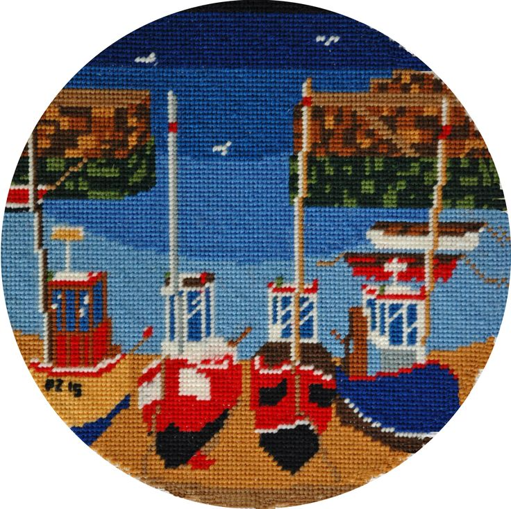 Round Harbour Kit, ideal as the centre piece of a cushion or for framing