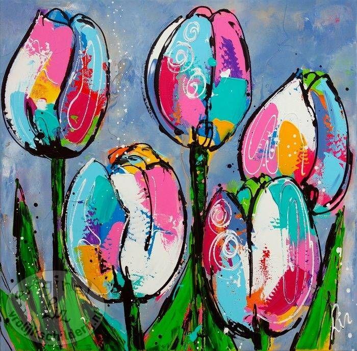 Vrolijk Schilderij 5 tulpen