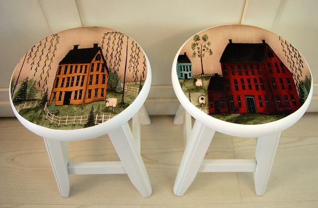 love the idea of painting on stools