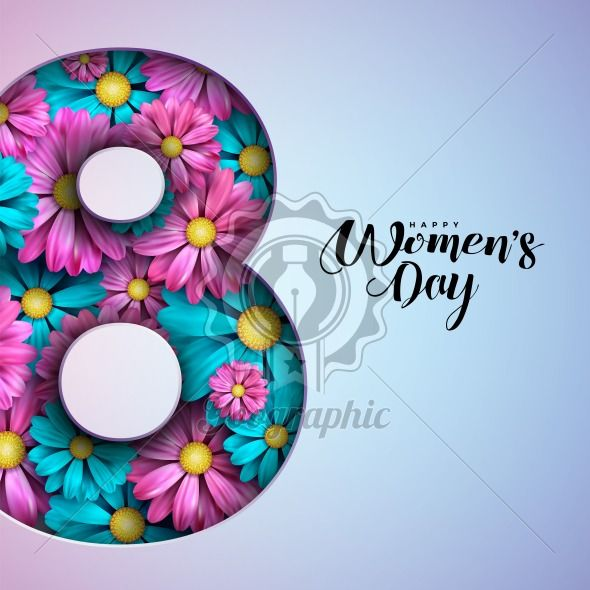 Happy Women's Day Floral Greeting Card Design. International Female Holiday Illustration with Number Silhouette, Flower and Typography Letter Design on Pink Background. Vector International 8 March Template. - Royalty Free Vector Illustration