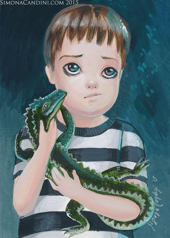 Pugsley Addams SIGNED Mini PRINT Simona Candini Gothic Big Eyes Lowbrow Art Pop Surrealism