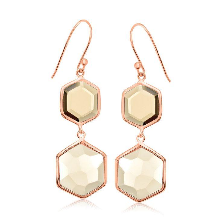 Sterling Silver Rose Gold Plated Dangling Hexagon Smokey Quartz Earrings