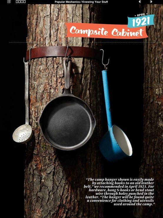 Belt   Hooks = Campsite Cabinet