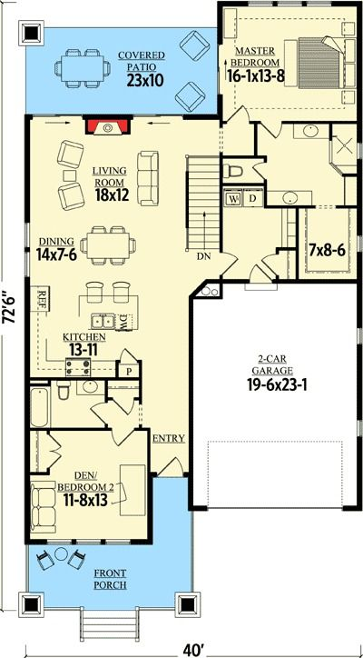 Plan 95019RW: Craftsman Cottage With Sturdy Front Porch