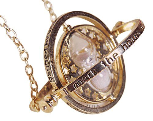 This Harry Potter Time Turner Necklace is a must have for any would be Hermione or Harry. Made from gold plated nickel and lead free alloy and distinctive white sand hourglass this unusual and eye catching statement necklace will turn heads. Ideal for all fans and fancy dressers this Harry Potter Time Turner Necklace makes an excellent gift or just treat yourself.