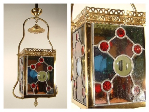 A bejeweled lantern fixture, c. 1885 fitted with jewels and coloured beveled glass, refinished in a gold adding colour and character to a room.