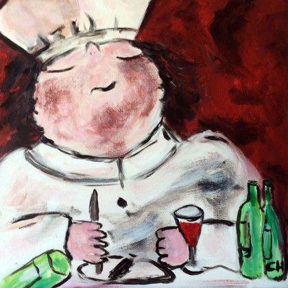 De kok. Zelf komen schilderen? Schilderen met een wijntje. Hét creatieve avondje uit. paintbar.nl.