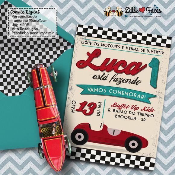 Convite Festa Carro de Corrida Vintage