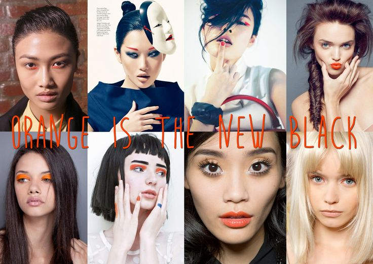 Orange is the New Black - Different ways of incorporating bright orange into a make-up look.