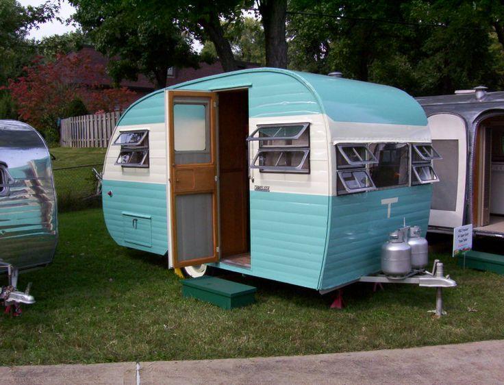 Vintage canned ham travel trailer-pretty color