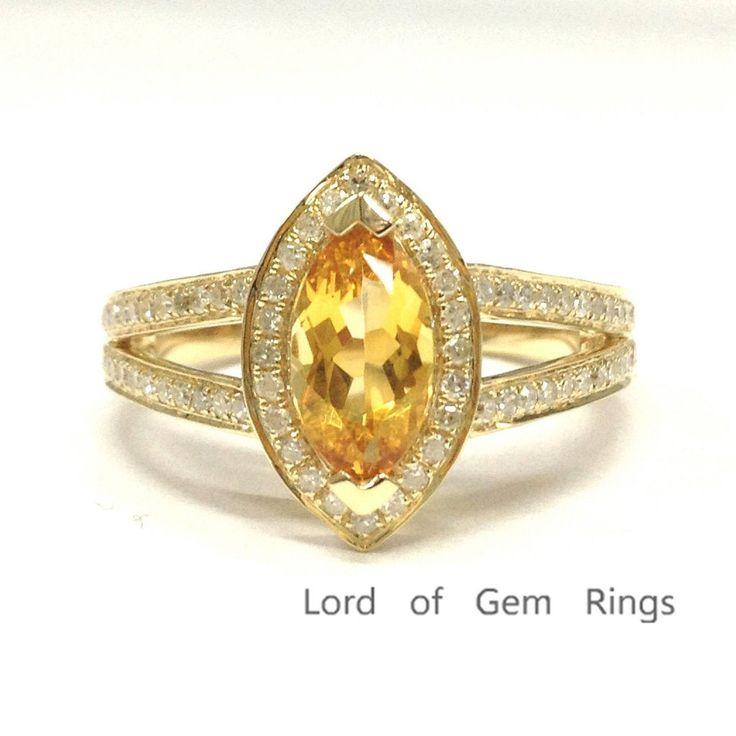 Marquise Citrine Engagement Ring Pave Diamond Wedding 14K Yellow Gold 5x10mm,Split Shank