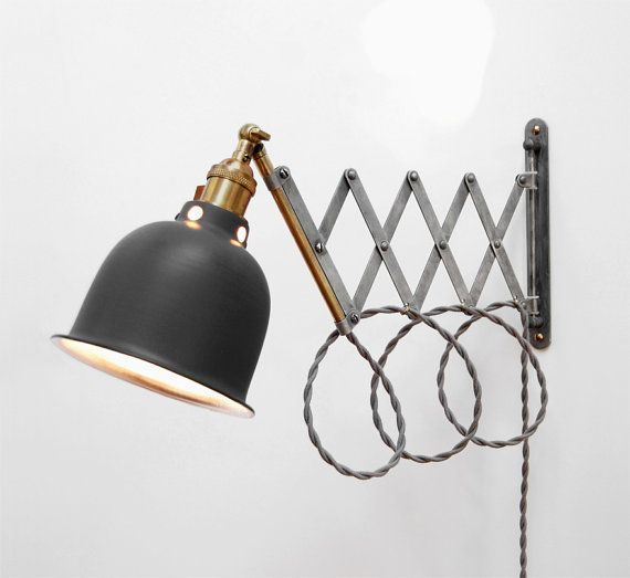 Scissor Lamp! Articulating Adjustable Brass Swing Sconce - Industrial Wall Mount Extension ...