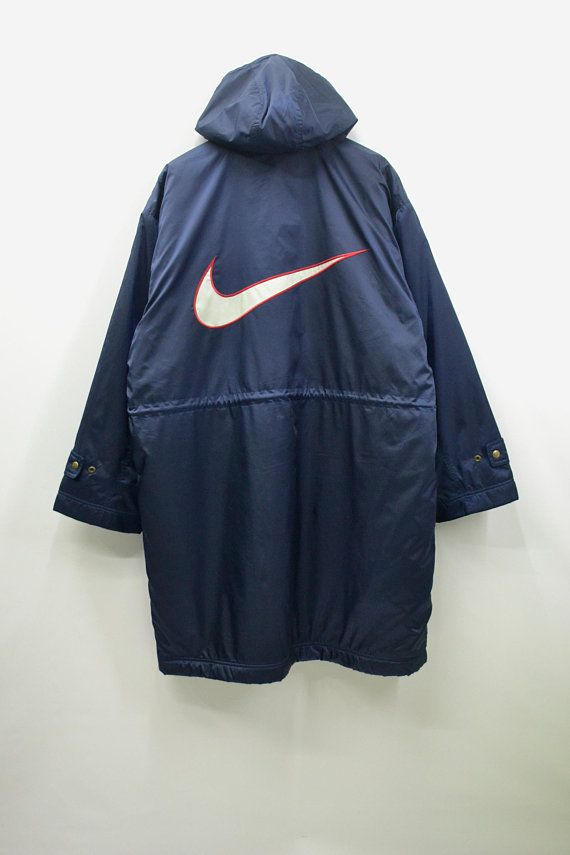 Nike Windbreaker Mens XL Nike Jacket Men Vintage Nike Swoosh Big Logo Nike  Vintage Activewear Men s XL Nike Long Winter Jacket be6273d03234