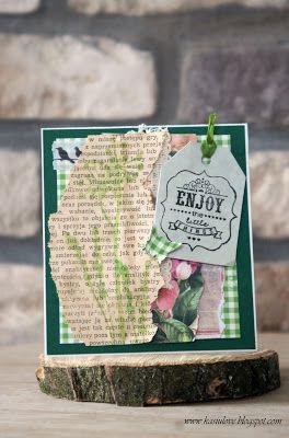 kartka z życzeniami scrapbooking / kartka w zieleni