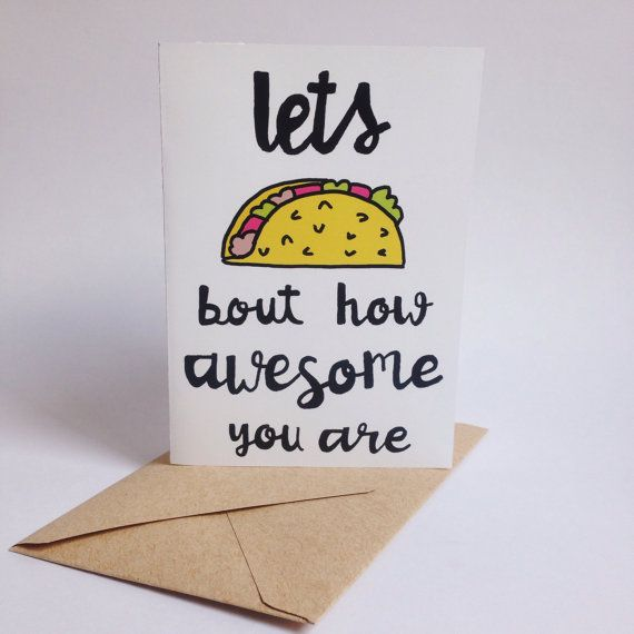 Adapt for thank-you notes// Taco card Taco gift Mexican food Taco party Taco by MexiBrandCo