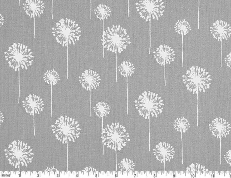 Dandelion Cotton Fabric Drapery Fabric Grey And White