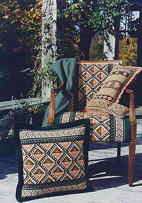 Pattern ANATOLIA - pillow and custom upholstery on chair - cross-point TM kit collection