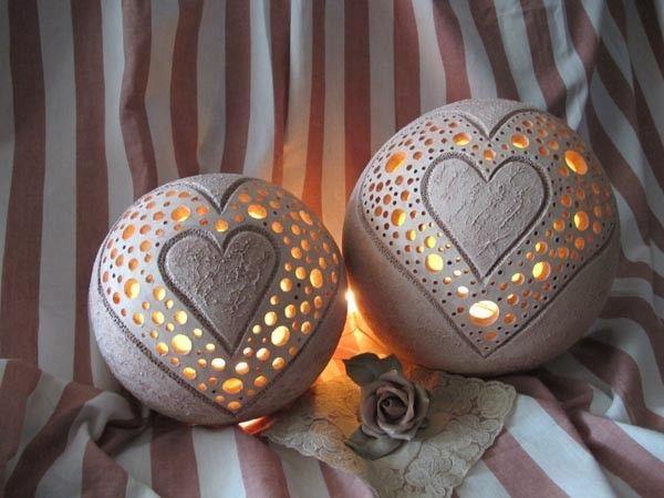 Leuchkugel Herz aus Keramik