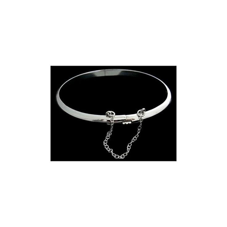 Pulsera de plata de primera ley lisa estilo brazalete de media caña de 5 mm de ancho y 6,5 cm de diámetro
