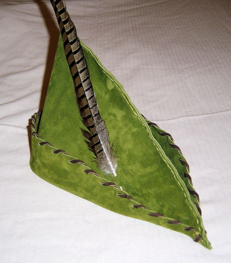 Robin Hood Hat  - Moss Green Suede, Browm Trim