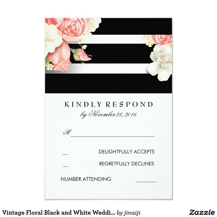 Vintage Floral Black and White Wedding RSVP Card White, black vintage floral wedding reply cards