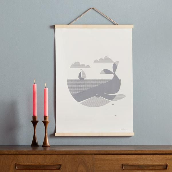 Taking a little inspiration from Herman Melville's most famous novel our friendly whale is hand screen printed in a soft shade of grey. Each print is individually signed and numbered.