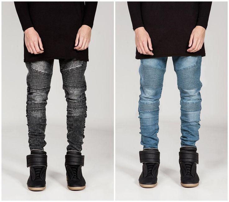Men hip hop street biker locomotive jeans fold slim fit skinny pants high elastic washed jeans