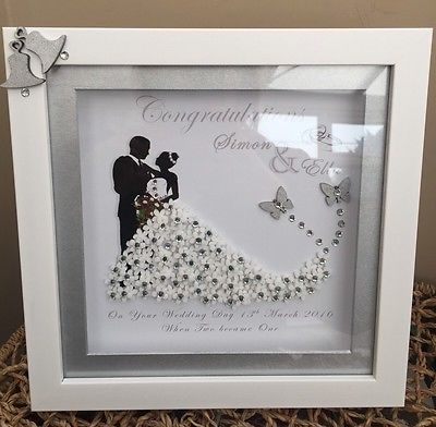 PERSONALISED DEEP BOX FRAME WEDDING ANNIVERSARY MR MRS GIFT PRINT DIAMANTES