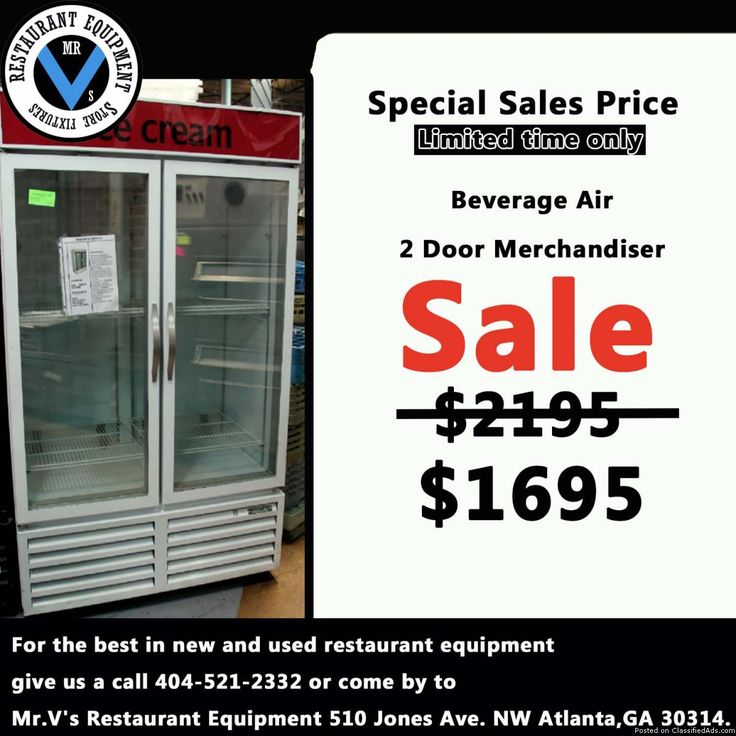 For the best in new and used restaurant equipment give us a call or come by to Mr.V's Restaurant Equipment. Big Sale onBeverage Air 2 Door Merchandiser while in stock. So don't miss out on this great deal. For more info contact 404-521-2332 Deep Fryers, 6 eye range, Commercial Coolers, Commercial Freezers, Sandwich Preps, Convection Oven, Restaurant Equipment, Used Restaurant Equipment, New Restaurant Equipment, Gas Grill, Griddle, Mr.V's Restaurant Equipment, Atlanta, GA