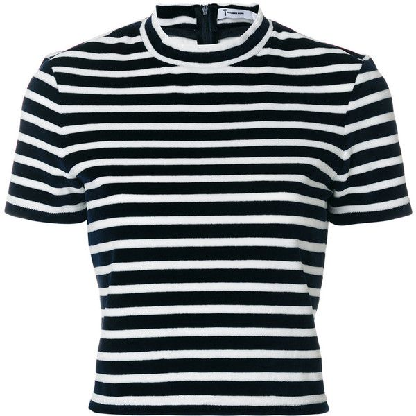T By Alexander Wang horizontal stripe T-shirt ($253) ❤ liked on Polyvore featuring tops, t-shirts, blue, blue top, horizontal striped t shirt, blue t shirt, short sleeve tee and urban tees