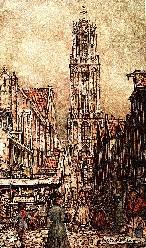 Kerst in Utrecht (Buurkerkhof) by Anton Pieck