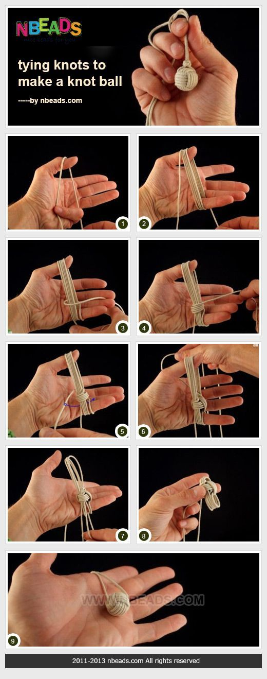 tying knots to make a knot ball