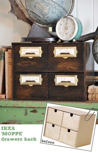 Ikea hack! Make this DIY vintage file drawer (library card catalog)