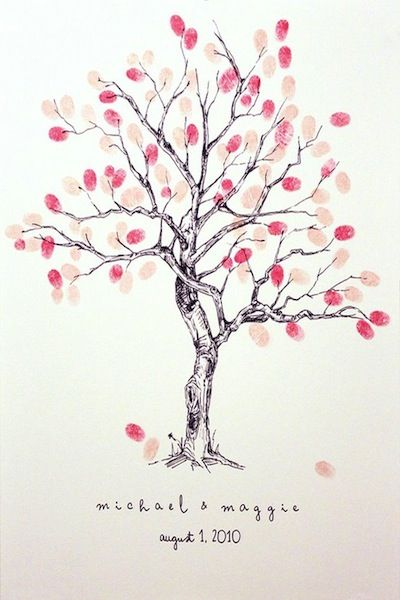 I love this idea for a wedding guest book. Have your guests add their thumbprint to the tree. Then frame it and hang it in your home.