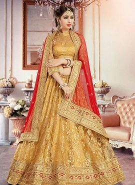 27d4fd8bfb Gold color Indian Jaipuri dulhan wear ghagra choli in net   ME ...