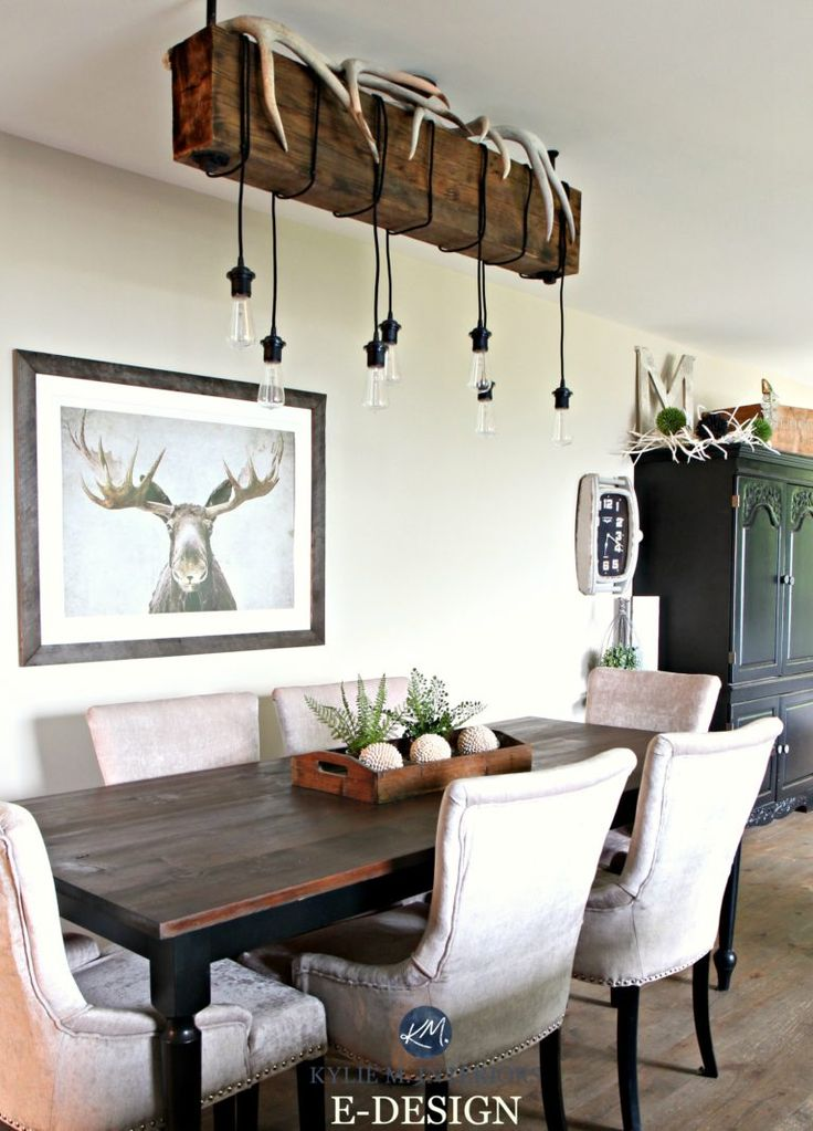 Home decor for a hunting home with farmhouse country style. Rustic chandelier and Grant Beige Benjamin Moore. Kylie M E-designa and online colour consulting expert