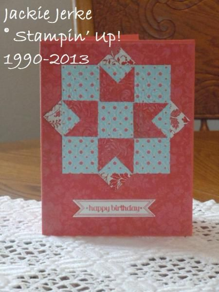 handmade quilt card by JJ Rubberduck ... simple star block ... like the way she extended the small squares beyond the perimeter of the card ... birthday greeting ...