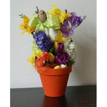 Ghiveci mare de Paste 3 - Aranjament de Paste cu flori artificiale