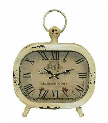 VINTAGE RETRO FRENCH PROVINCIAL SHABBY CHIC TABLE CLOCK METAL BEIGE CREAM AU $24.90